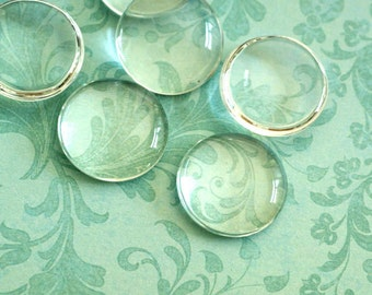 6pcs 25mm Glass Transparent Clear Round Cabochon Cameo Cover Cabs GGLA-G008