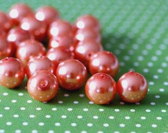 50pcs 8mm Orange Pearl Glass Beads HY8mm85