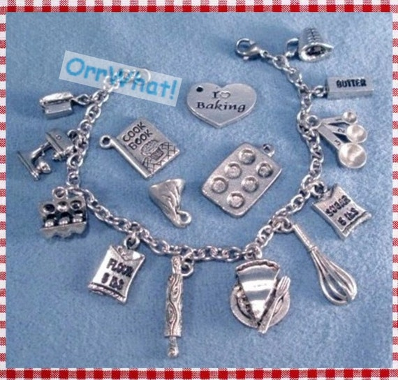 Baker Silver Charms Bracelet Flour Sugar Butter Mixer Food Baking Kitchen Utensils