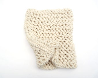 Baby Alpaca Infinity / Loop / Circle Scarf. Hand Knit Lace. Porcelain / Ivory. Spring / Fall / Winter. Handmade in France.