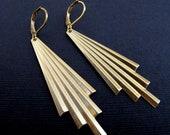 Tower. Art Deco Brass Earrings Tiered Earrings, Geometric Brass Jewelry