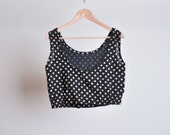 RESERVED. black polka dot crop top / cotton gauze / deadstock / s
