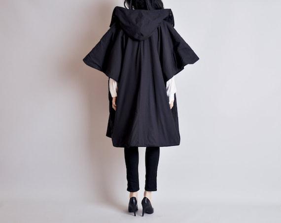 80s black avant garde short sleeve cape coat / hooded / s / m / l / city middle coat