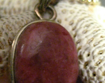 SALE  Sterling Silver Pink Rhodonite Focal Pendant