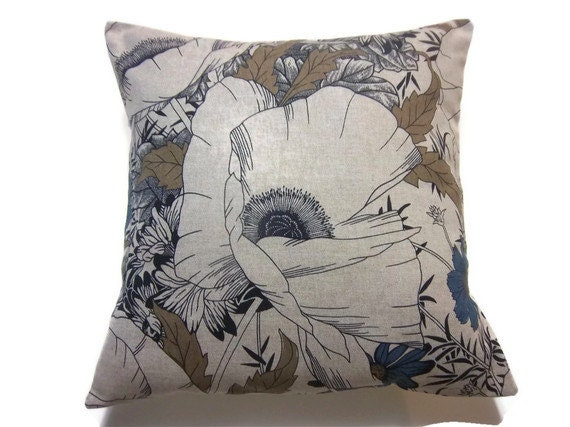 Navy Blue Decorative Bed Pillows: Decorative Pillow Cover Navy Blue Taupe Linen Black Toss Throw