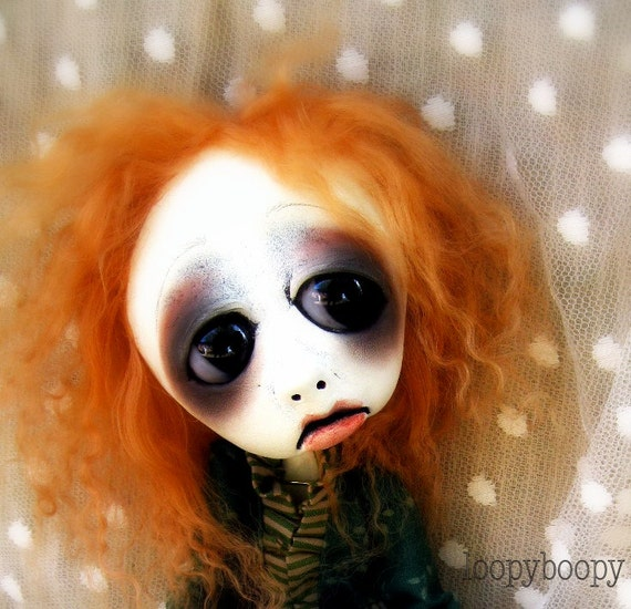 Loopy ooak Gothic Art Halloween decoration Doll Alice and Raven RESERVED  for K