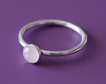 Rose Quartz Stacking Ring 5 mm Sterling Silver - Size 2 to 15 - Rose Quartz Gemstone Ring - Pink Ring - Womens Jewelry - Small Stacking Ring