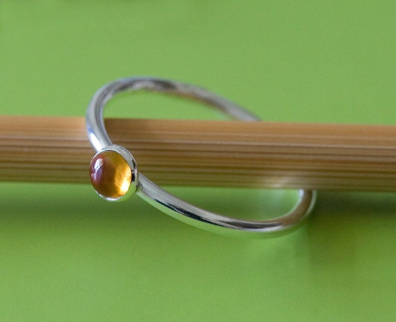 Citrine Stacking Ring in Sterling Silver Gemstone, Size 2 to 15, November Birthstone, Womens Ring, Yellow Ring, Gift for Her, Stackable Ring