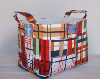 Storage and Organization  - Madras Plaid - Nautical -  Fabric Organizer Bin Storage Container Basket