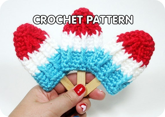 Crochet Rose Hair Clip Pattern : PDF Crochet Pattern Rocket Pop Brooch/Hair Clip by TwinkieChan