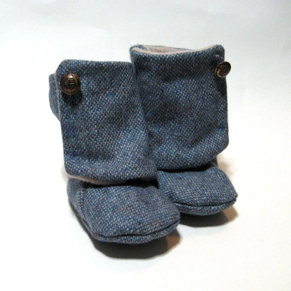 Vintage Blue Periwinkle Baby Booties 9-12 months Size 4