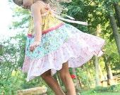 summer twirl dress, patchwork dress, sundress, halter dress, pink blue yellow dress, easter dress, tiered dress, boho dress, birthday dress