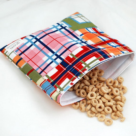 Madras Plaid - green by mamamade Eco-Friendly Reusable Sandwich Bag