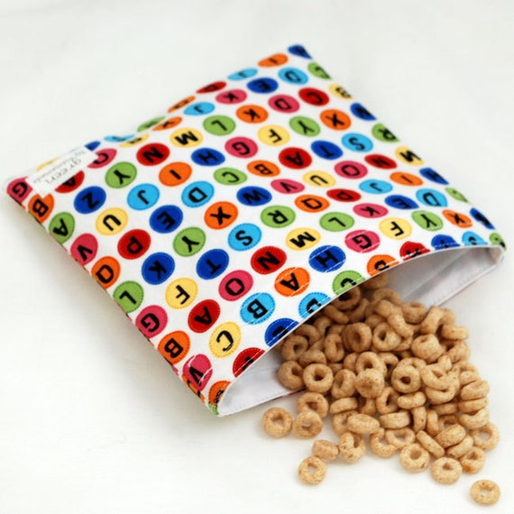 Pick a Letter - Medium Reusable Sandwich Bag from green by mamamade