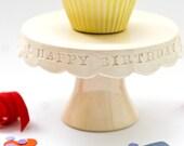 Cupcake Stand  - Happy Birthday - Cream
