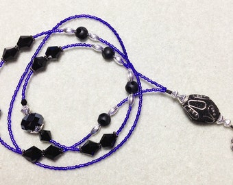 Wicked - beaded badge lanyard - purple and black glass goth beaded ID badge lanyard necklace for teacher nurse gift