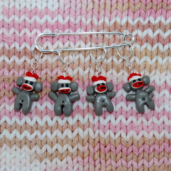 Knitting Stitch Markers How To Make : Sock monkey knitting or crochet stitch markers set of