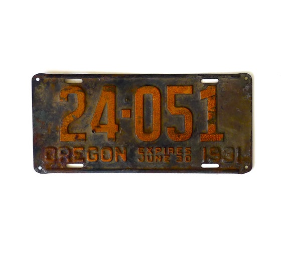 Antique Oregon Automobile License Plate 1931