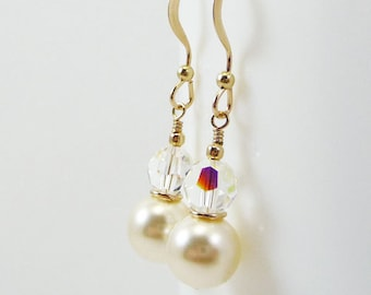 Ivory pearl and crystal earrings PROVINCE Wedding Bridal Bridesmaid Swarovski Gold Filled