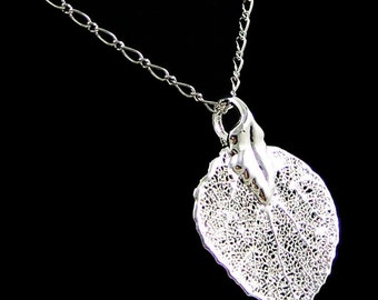Silver Aspen Leaf Necklace Nature Jewelry Gift for Women Under 50 Holiday Sale Large Skeleton Leaf