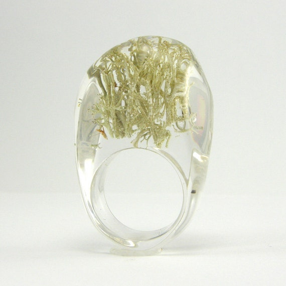Clear resin ring with Silver Moss, Moss Ring
