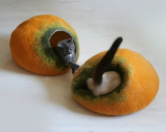 Cat Nap Cocoon / Cave / Bed / House / Vessel - Hand Felted Wool - Crisp Contemporary Design - READY TO SHIP Yellow Pumpkin Bubble