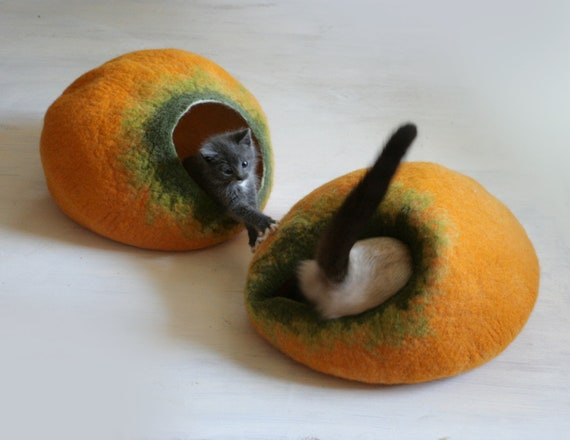 Cat Nap Cocoon Cave Bed House Vessel Furniture - Hand Felted Wool - Crisp Contemporary Modern Design - READY TO SHIP Yellow Pumpkin Bubble