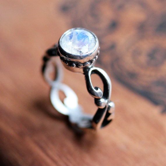 rainbow moonstone engagement ring rainbow moonstone ring moonstone ring silver infinity engagement ring - Moonstone Wedding Rings