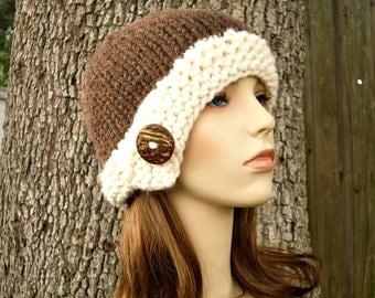 Knit Hat Womens Hat - Brown Cloche Hat in Java Bean Brown and Cream Knit Hat - Brown Hat Cream Hat Womens Accessories Winter Hat