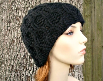 Black Knit Hat Black Womens Hat - Amsterdam Black Cable Beanie - Black Hat Black Beanie Black Cable Hat Womens Accessories Winter Hat