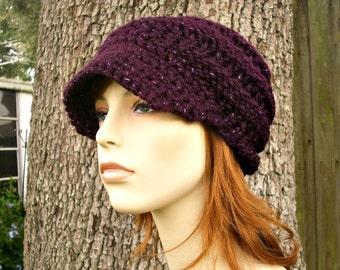 Purple Womens Hat Purple Newsboy Hat - Swirl Beanie with Visor Galaxy Eggplant Purple Knit Hat - Purple Hat Purple Beanie Womens Accessories
