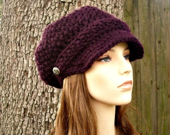 Crochet Hat Womens Hat Newsboy Hat - Crochet Newsboy Hat in Purple Eggplant Crochet Hat - Purple Hat Womens Accessories
