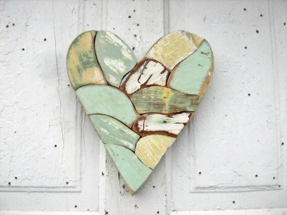 Mint Green Heart made from Salvaged Wood Mosaic Art