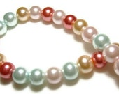 Assorted Glass Pearl Beads 8mm 100ct - pink, blue, peach, red A5