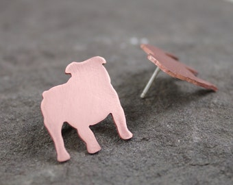 Copper English Bulldog Post Earrings
