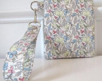 Blue and Cream Floral Wristlet - Zipper Pouch - Gadget Holder