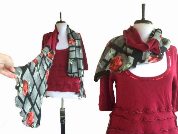Asymmetric Sweater Tunic with Scarf Medium M Eco Friendly Recycled Womens Handmade Clothing Earthy Floral Ruffled Gray Red Roses
