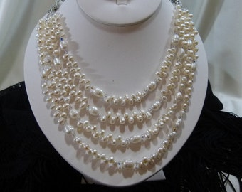 Gorgeous Freshwater Pearl and Crystal 4 Strand Necklace
