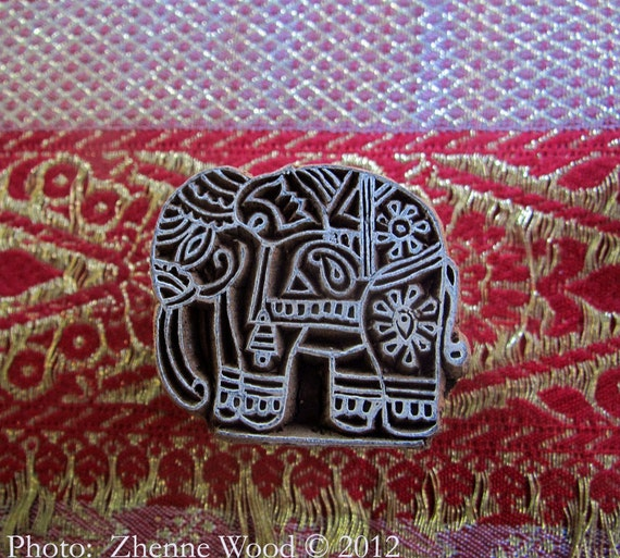 An East Indian Elephant Handcarved Vintage Wooden Block Stamp for Ornamentation on Paper or Fabric