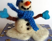 Needle Felted Snowman Decoration, Lovely Little Snowman, Wooly Snowman