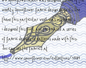 Font, WS SpoonflowerBlack, hand drawn, eccentric, wiccked stepmother fonts, ttf font file, by melanie j cook, for wiccked.