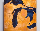 Copper Map Art of Michigan, copper on blue 8 inches
