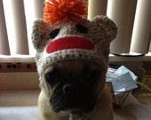 Dog or Cat Sock Monkey Custom Sock Monkey Hat