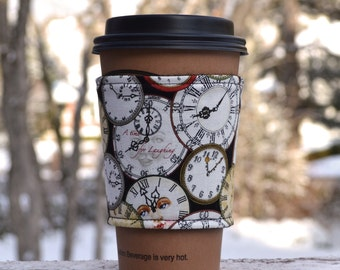 FREE SHIPPING UPGRADE with minimum -  Fabric coffee cozy / cup holder / coffee sleeve  / tea sleeve -- A Time for Laughing
