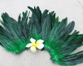 Half bronze coque feathers- green- length 8-10 inches in length