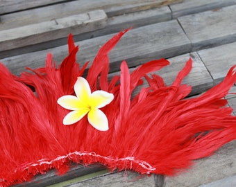 Rooster coque feathers 6-8 inch length color red, red feather, Tahitian costume, hat feathers, Polynesian dance