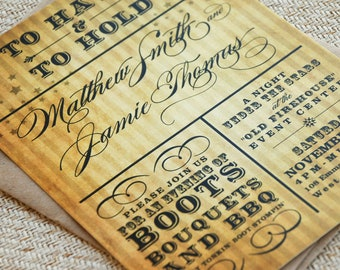 To Have and To Hold Vintage Wedding Invitation (Eco-Friendly & Typography) - Design Fee