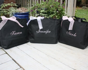 Monogrammed Tote Bags Bridesmaid  - Set of 4 with Names -
