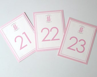 12 Double Happiness Layered Table Number Cards for Your Reception