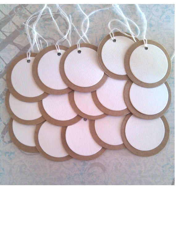 Circle Tags - 2 1/2 inch - Set of 25 - Kraft with Soft White